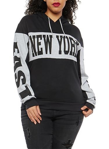 Plus Size Graphic Hooded Sweatshirt,BLACK,large