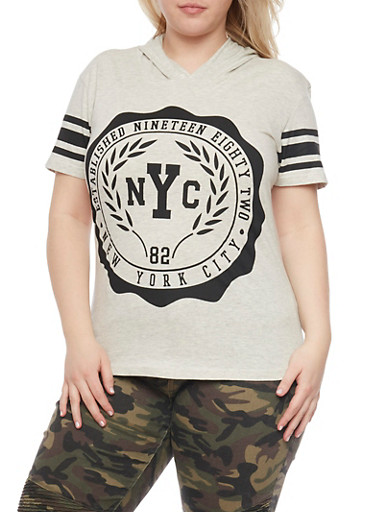 Plus Size Short Sleeve NYC Graphic Hooded Top,OATMEAL,large