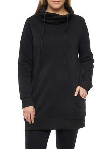 Plus Size Drawstring Funnel Neck Sweatshirt,BLACK,large