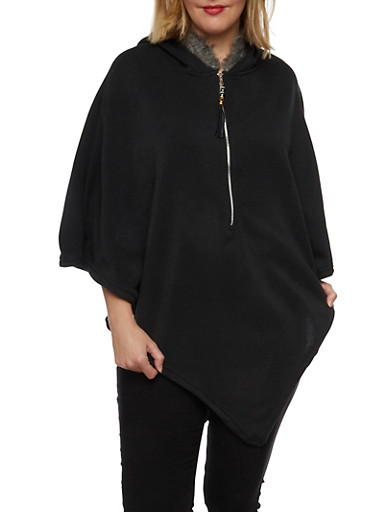 Plus Size Poncho with Faux Fur Trimmed Hood,BLACK,large