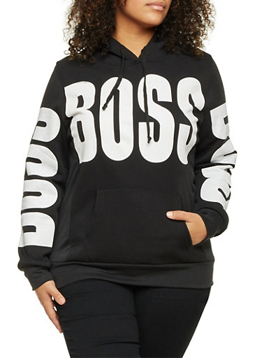 Plus Size Graphic Hoodie with Boss Print,BLACK,large