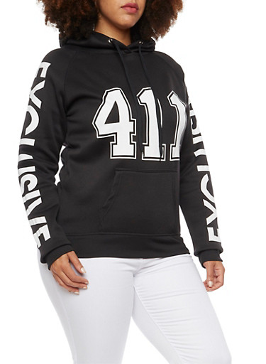 Plus Size Hoodie with 411 Exclusive Graphic,BLACK,large