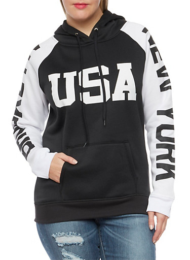Plus Size Hoodie with New York Graphics,BLACK,large