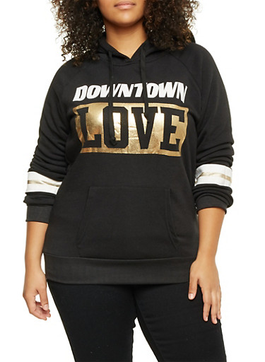Plus Size Hoodie with Downtown Love Print,BLACK,large