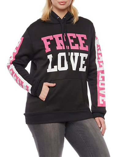 Plus Size Hoodie with Free Love Graphics,BLACK,large