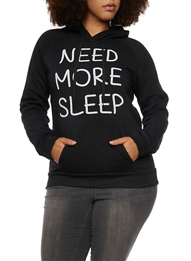 Plus Size Need More Sleep Print Hoodie,BLACK,large