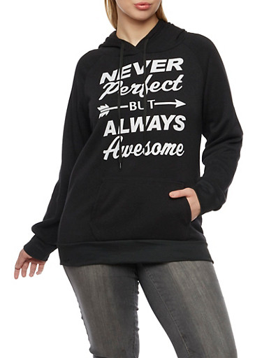 Plus Size Fleece Hoodie with Never Perfect Graphic,BLACK,large