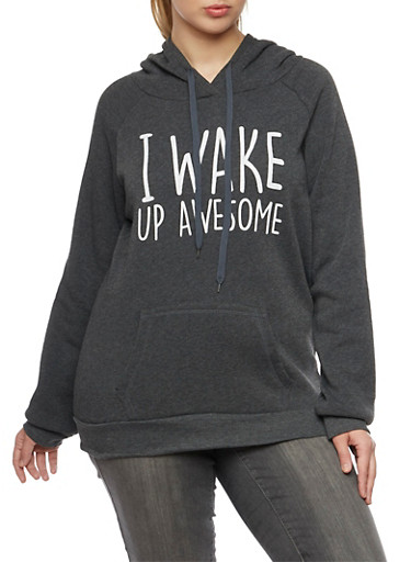 Plus Size Hoodie with I Wake Up Awesome Graphic,CHARCOAL,large