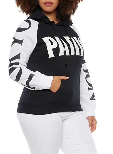 Plus Size Hoodie with Paris Tokyo and London Graphics,BLACK,large