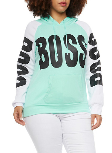 Plus Size Graphic Hoodie with Boss Print,MINT,large