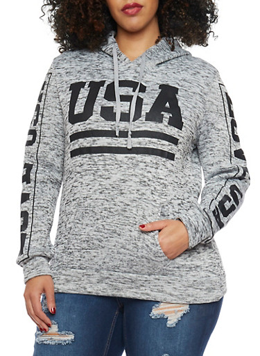 Plus Size USA Graphic Fleece Hoodie,BLACK,large
