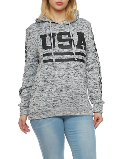 Plus Size Fleece Hoodie with USA Graphic,WHT-BLK,large