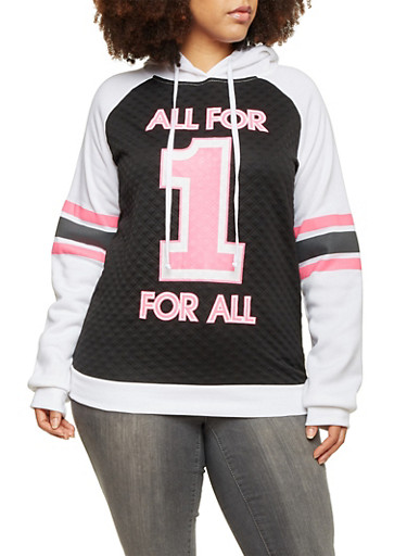 Plus Size Quilted Hoodie with All for 1 Graphic,BLACK/WHITE,large