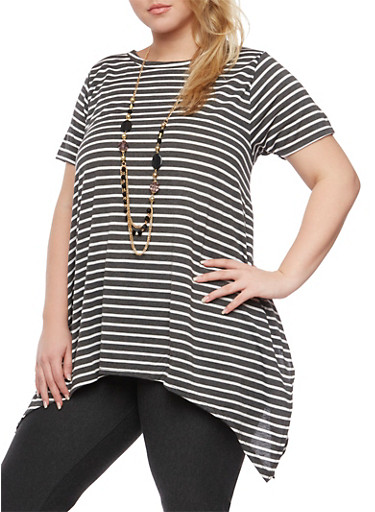 Plus Size Striped Top with Sharkbite Hem and Necklace,HEATHER,large