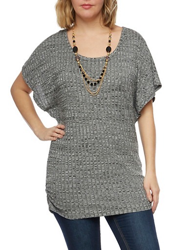 Plus Size Rib Knit Marled Top with Necklace,BLACK,large
