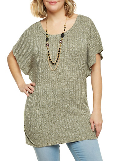 Plus Size Rib Knit Marled Top with Necklace,OLIVE,large
