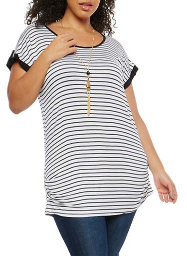 Plus Size Striped Tunic Top with Necklace,WHITE,large