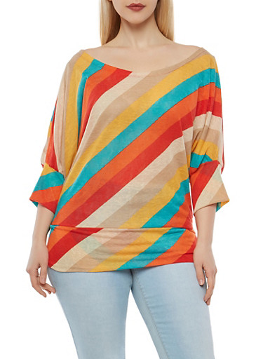 Plus Size Striped Dolman Sleeve Top,TEAL,large