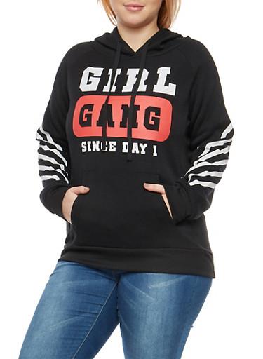 Plus Size Girl Gang Hooded Sweatshirt,BLACK,large