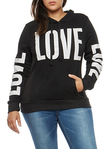 Plus Size Fleece Love Graphic Sweatshirt,BLACK,large