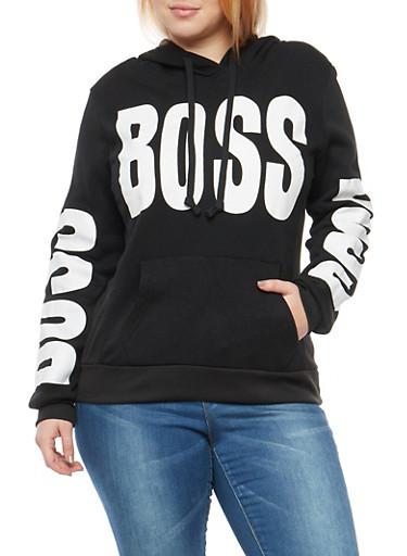Plus Size Boss Graphic Hooded Sweatshirt,BLACK,large
