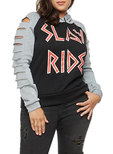 Plus Size Graphic Slashed Sleeve Sweatshirt,BLACK,large