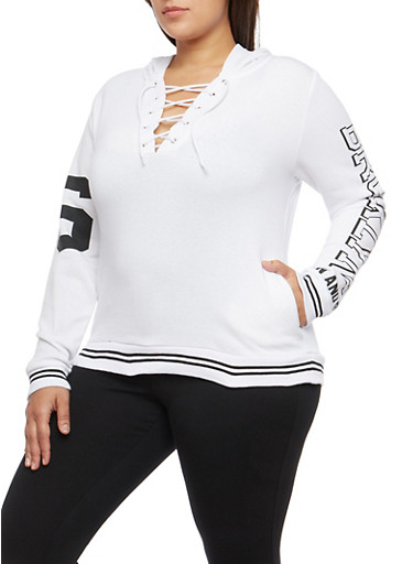 Plus Size Lace Up Brooklyn Graphic Hooded Sweatshirt,WHITE,large