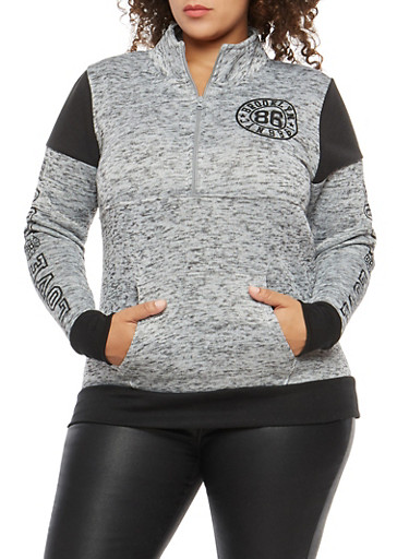 Plus Size Marled Half Zip Graphic Sweatshirt,GRAY,large