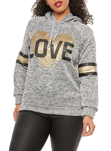Plus Size Foil Heart Love Graphic Sweatshirt,GRAY,large