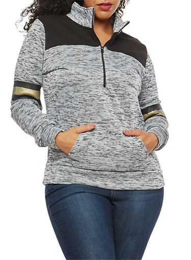 Plus Size Marled Love Foil Graphic Sweatshirt,BLACK/WHITE,large