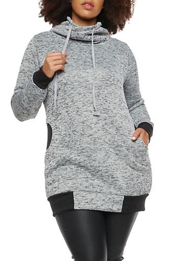 Plus Size Tunic Sweatshirt with Funnel Neck,HEATHER,large