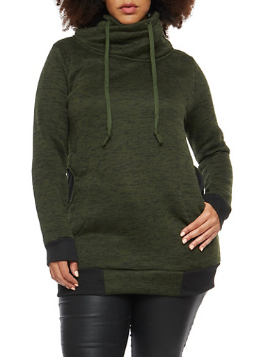 Plus Size Tunic Sweatshirt with Funnel Neck,GREEN,large