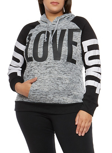 Plus Size Love Graphic Hooded Sweatshirt,GRAY,large