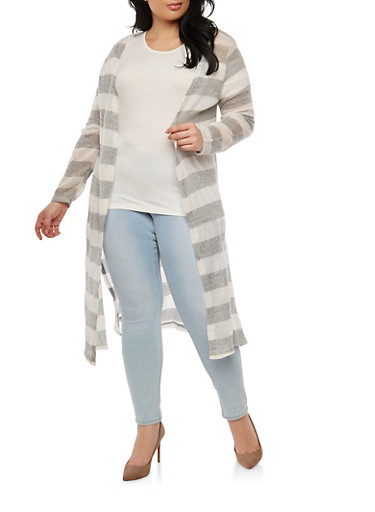 Plus Size Striped Knit Duster,GRAY,large