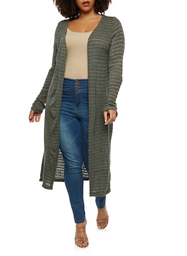 Plus Size Shimmer Knit Duster,OLIVE,large