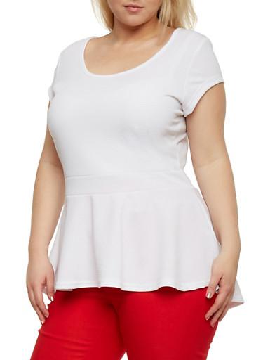 Plus Size Short Sleeve Top with Fishtail Hem,WHITE,large