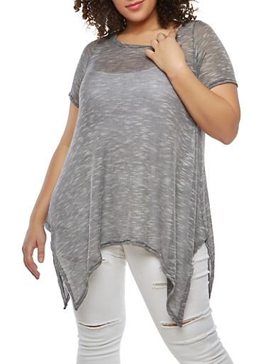 Plus Size Sharkbite Hem Knit Top,BLACK,large
