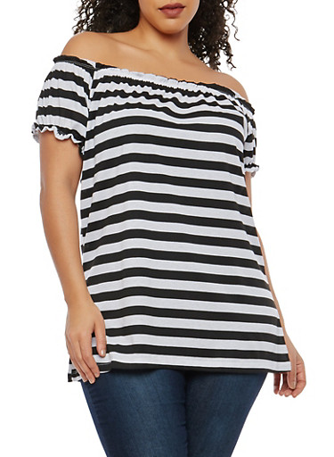 Plus Size Striped Off the Shoulder Top,BLACK/WHITE,large