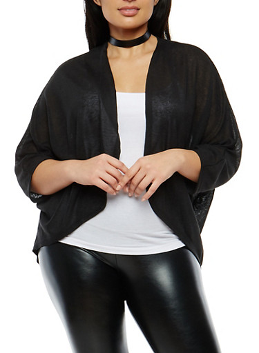 Plus Size Drape Front Dolman Sleeve Cardigan,BLACK,large
