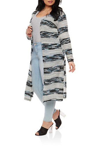 Plus Size Striped Knit Duster,BLACK,large