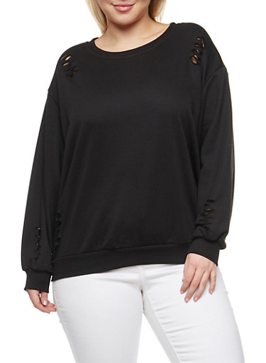 Plus Size Distressed Sweatshirt,BLACK,large