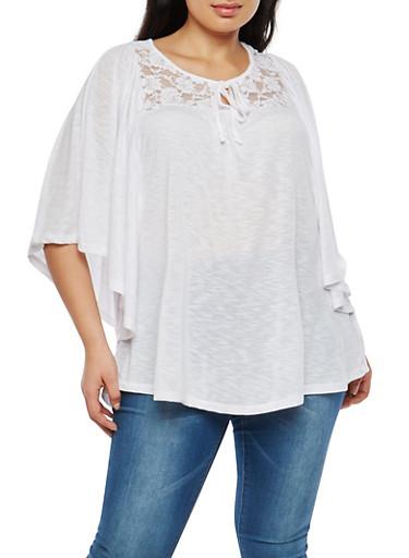 Plus Size Dolman Sleeve Lace Yoke Top,WHITE,large