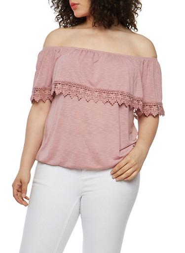Plus Size Crochet Trim Off the Shoulder Top,WOOD ROSE,large