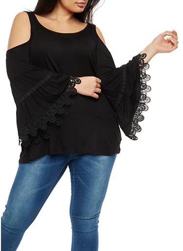 Plus Size Cold Shoulder Bell Sleeve Top,BLACK,large