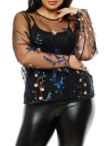 Plus Size Floral Embroidered Mesh Top,BLACK,large