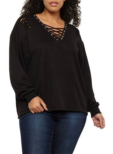 Plus Size Slashed Lace Up Sweatshirt,BLACK,large