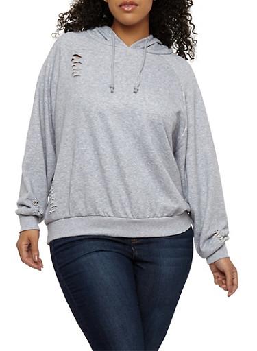 Plus Size Slashed Hooded Sweatshirt,GRAY,large