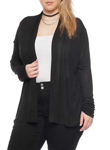 Plus Size Long Sleeve Open Front Cardigan,BLACK,large