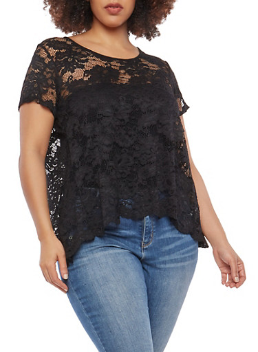 Plus Size Sheer Lace Open Back Top,BLACK,large
