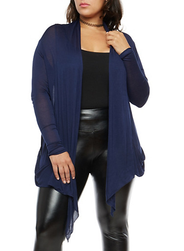 Plus Size Light Knit Cardigan,NAVY,large